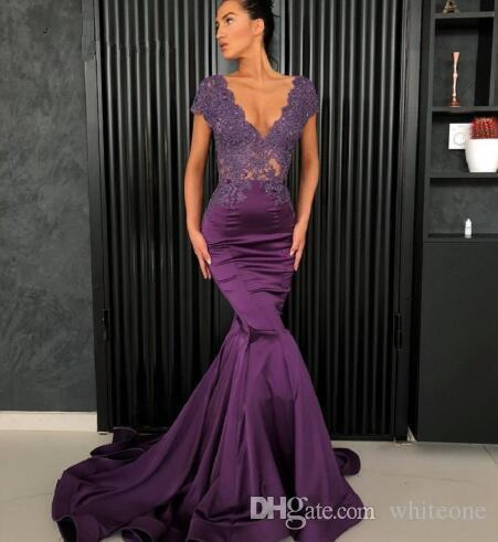 Compre Vestidos De Noche Elegantes De Sirena 2019 Apliques De Encaje Morado Con Cuentas V Cuello Ilusión Volver árabes Vestidos De Fiesta Formales