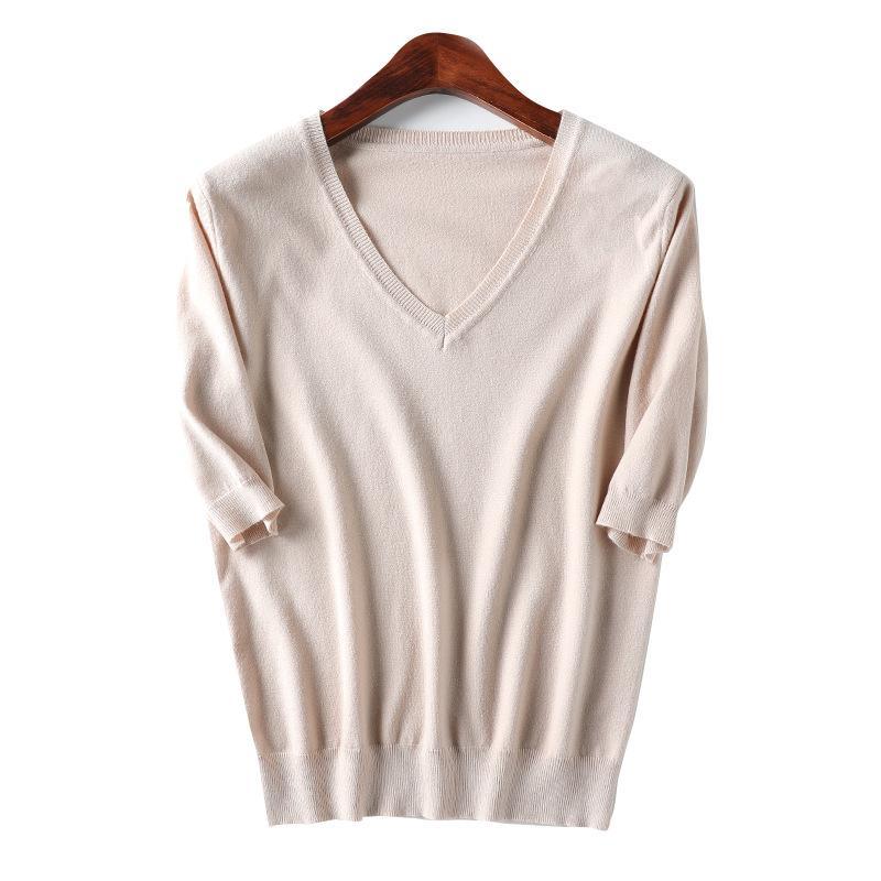 2019 Женских осень зима свитера женщины V-образный вырез с коротким рукавом хлопок вязать свитер Смешать Тонкий Стиль пуловер Трикотаж