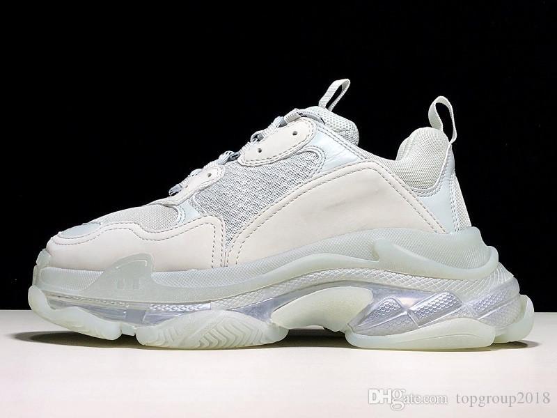 Paris Günlük Ayakkabılar Triple-S Clear Sole Eğitmenler Baba Ayakkabı Sneaker Kombinasyon Kristal Alt Womens Ayakkabı Moda Leisure Chaussures
