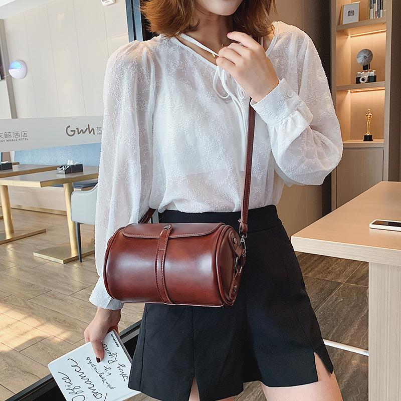 PU Mulheres Pequenas Torba Forma Lateral Senhoras Damska Vintage Zipper Bolsa Bolsa de Ombro Bolsas De Couro Crossbody Bags KBUFL
