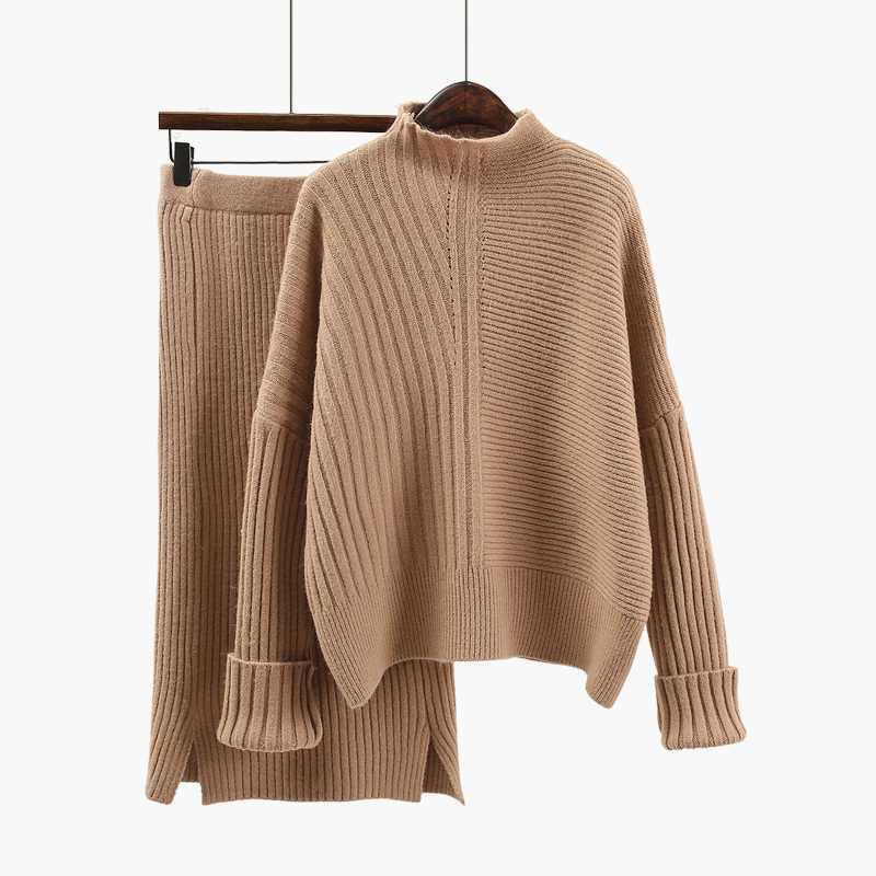 2 Piece Set Women 2019 Spring Knitted Sweater + Midi Skirt Two Piece Set Loose Sweater Dress Set Clothes Office Ladies Pullover