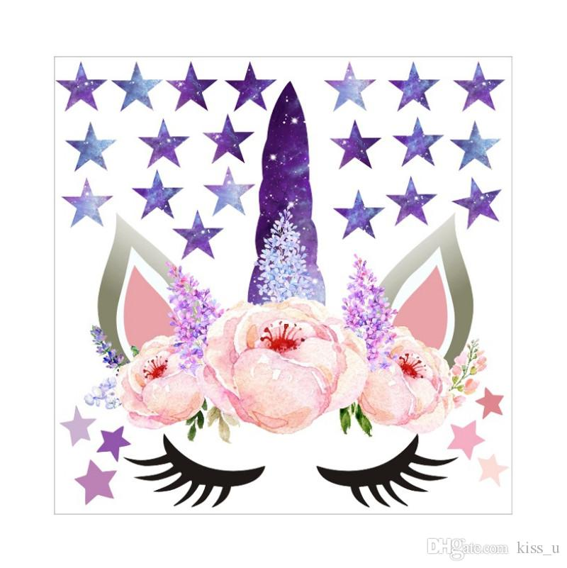 25x25cm Cartoon Stars Wall Stickers For Girls Bedroom 2019 Moon Wall Decals Gold Pink Purple Decor