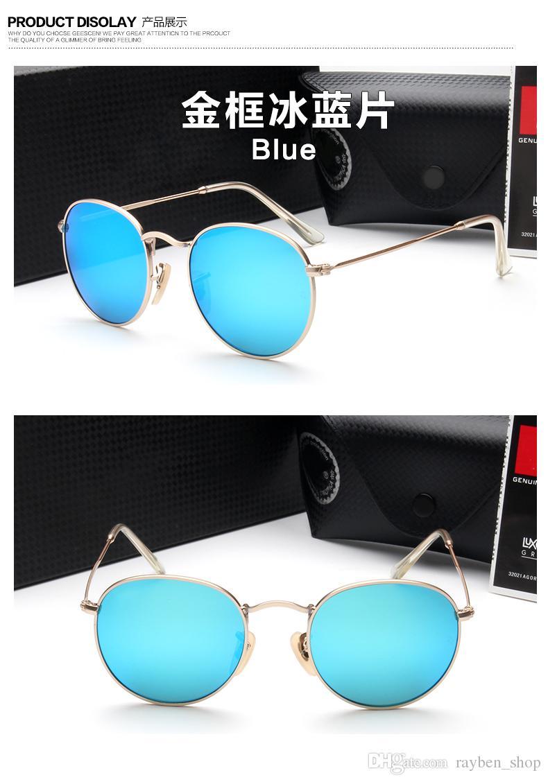 387da479f8 Compre RayBan RB3447 Óculos De Sol De Metal Redondo Designer De Óculos De  Ouro Flash De Vidro Da Lente Para Homens Das Mulheres Espelho Óculos De Sol  ...