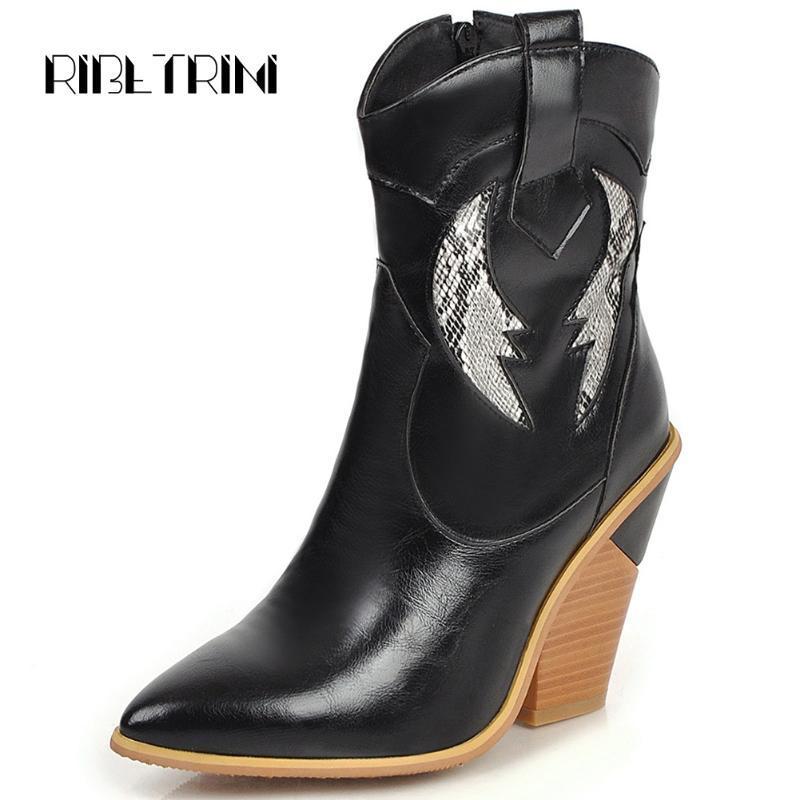 RIBETRINI nouvelle marque Femme Chaussures Femme Western Talons Bottes Femmes Toe Pointu Bureau Casaul Automne Bottes hiver
