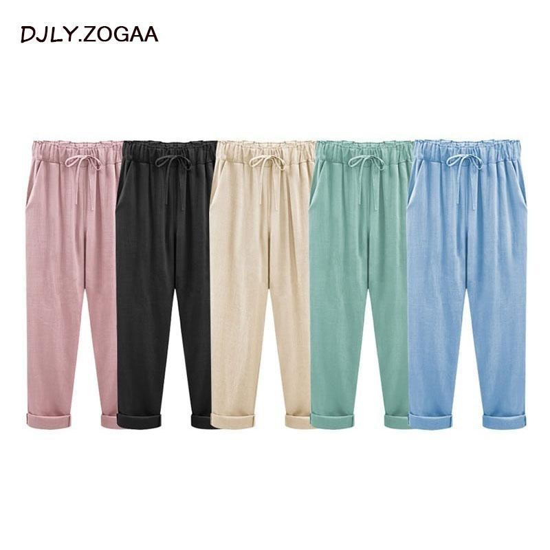 Pantalones de mujer Pantalones de algodón de lino Sólido Pantalones casuales Tallas grandes para mujer Pantalones Harem sueltos femeninos con bolsillo M-6XL