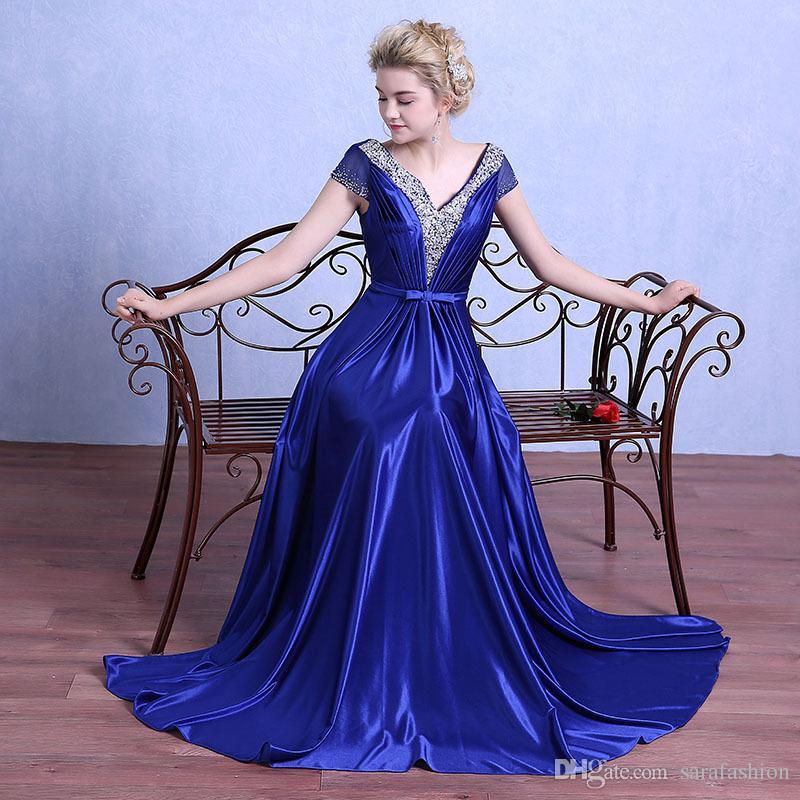 Tampado Pescoço V Cetim Vestidos de Noite 2019 Frisado Vestidos de Noite Mangas Curtas Longo Vestido de Festa Preto Azul Royal
