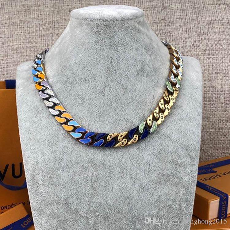 Kettenglieder PATCHES Halskette Ohrringe Schmuckketten Goldketten 14k Halskette Ringe für Männer heraus gefroren M68259 Cuban Link Kette