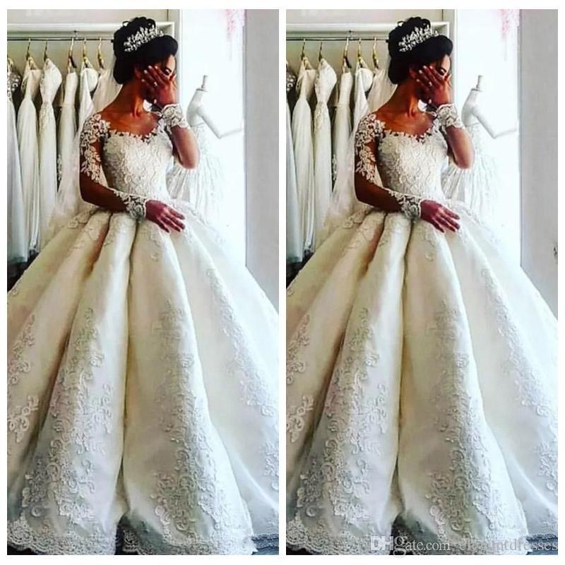 Elegante branco jóia pura vestido de baile vestidos de noiva mangas compridas apliques de renda vestidos de noiva de luxo frisado vestidos de casamento formal
