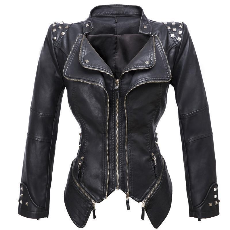 2019 Herbst und gotischer Stil dünne Lederjacke des Winters Frauen, Niet-Reißverschluss PU-Leder schwarz enge Motorradbekleidung