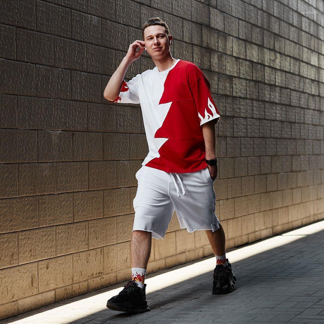 Patchwork à manches courtes Hip Hop Teenagers été Hauts Ins hommes de style Designer T-shirts couleur de la mode