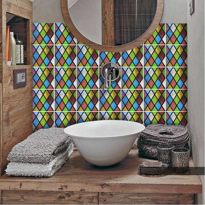 Tile Peel And Stick Self Adhesive Removable Stick On Kitchen Backsplash  Bathroom 3D Wall Sticker Wallpaper Tiles Stickers Multicolors Tile Stickers  ...