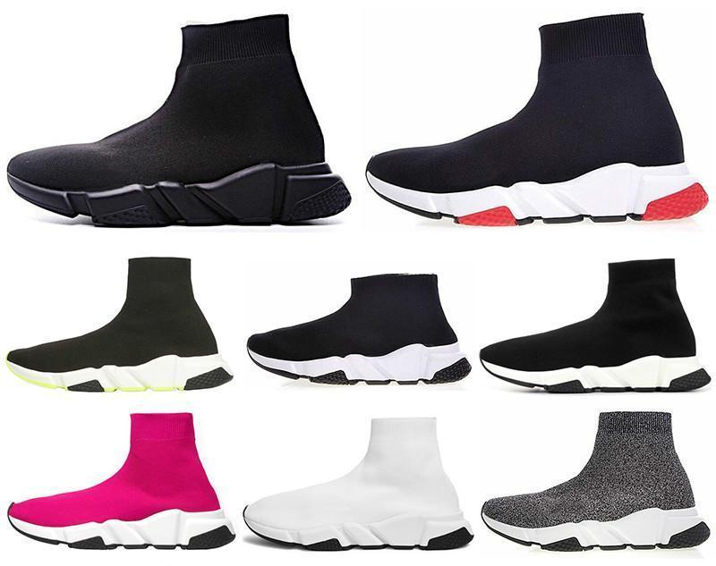 El diseñador de moda Speed Trainer calcetín del zapato Hombres Mujeres Triple Negro Blanco Rojo Glitter Volt para hombre Entrenadores corredores ocasionales de los deportes zapatillas de deporte 36-45 T5