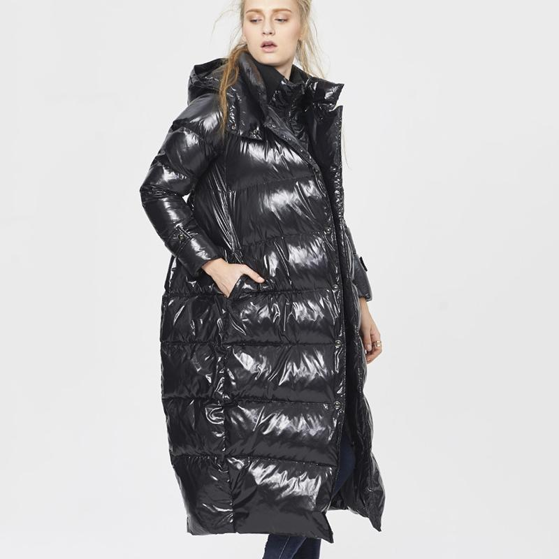 5XL Size Women Winter Black Glossy Long Down Jacket 2019 New Fashion Fake Two Piece Hooded White Duck Feather Coat Female HJ206