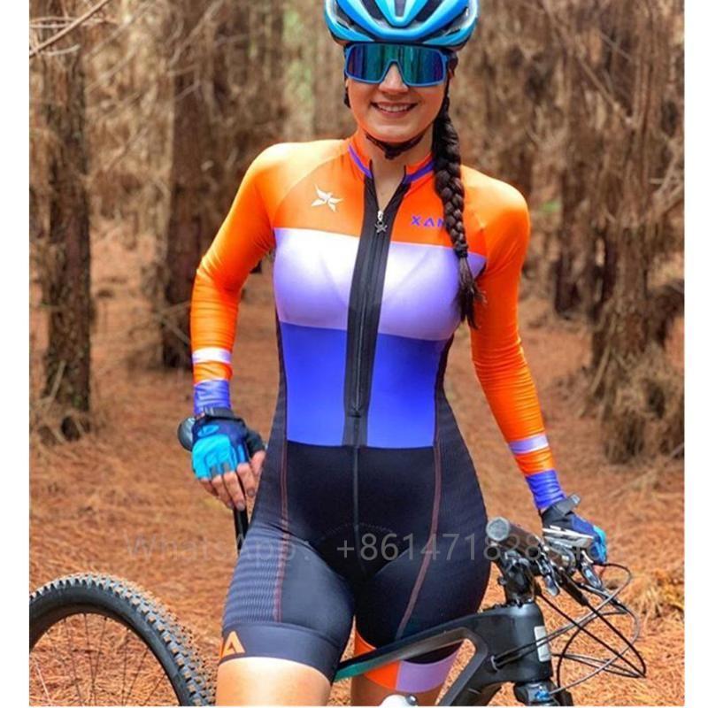 skinsuit طويلة وركوب الدراجات XAMA CYCLING المرأة الصيف كم الموالية فريق الدراجات التدريب الملابس trisuit مثير ارتداءها ciclismo مجموعات