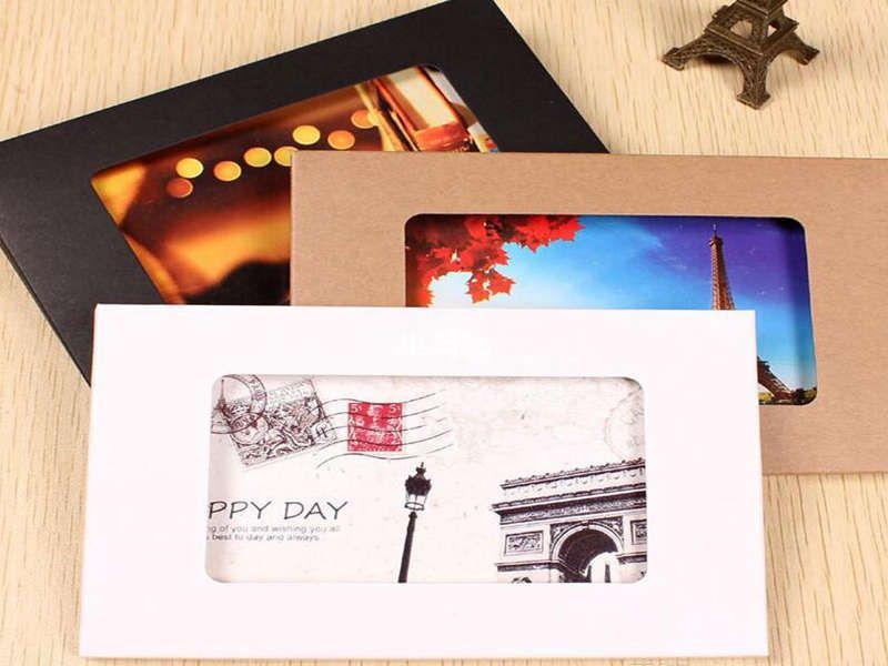 10.2 * 15.5 * 0.5cm Papier Kraft PLUSTABLES Coffret Photo Carte PostCard avec fenêtre Carte de vœux de la fenêtre Boîtes de fenêtres