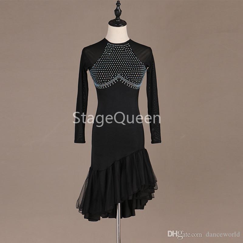 Özel Siyah Kristaller Latin Dans elbise Kadın / Bayan Rekabet püskül Elbise Balo Salonu Cha Cha Salsa Rumba Dans Elbise Için Dansçı S-XXL
