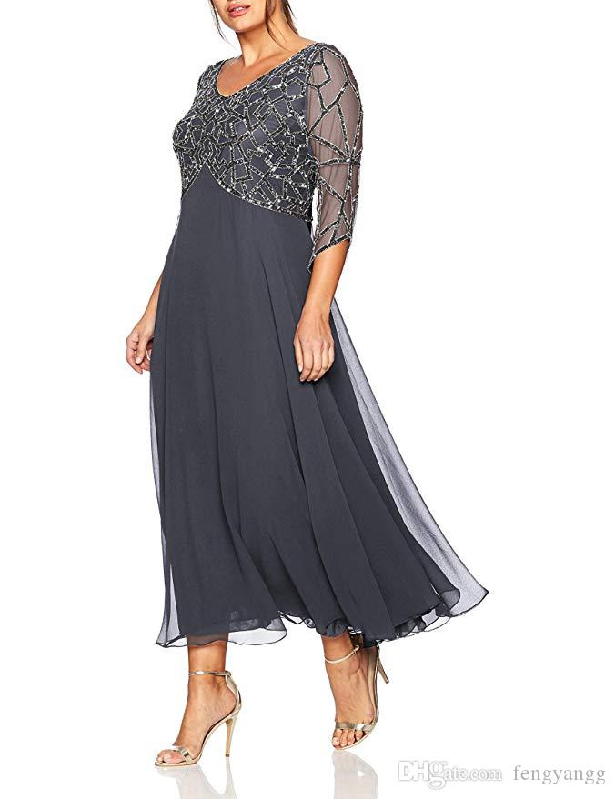 2019 المرأة الشيفون الديكور الشاي طول الأم طويلة الأكمام من فستان العروس زائد الحجم vestidos دي madrina حزب فساتين رسمية