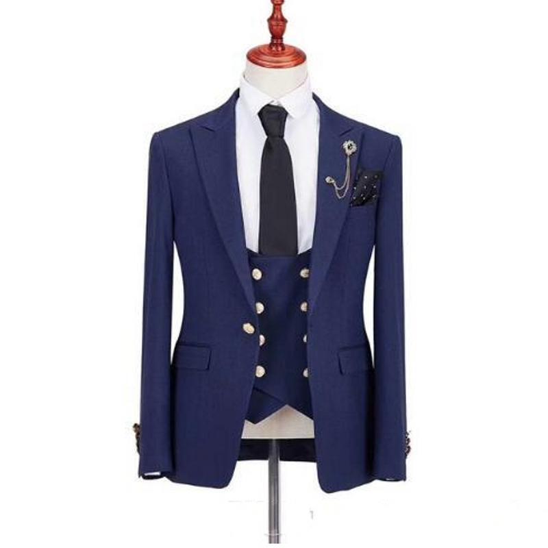 Abiti da uomo blu scuro su misura 3 pezzi Abiti da sposa Smoking dello sposo per uomo costume homme abiti da sposa (giacca + pantaloni + gilet + cravatta)