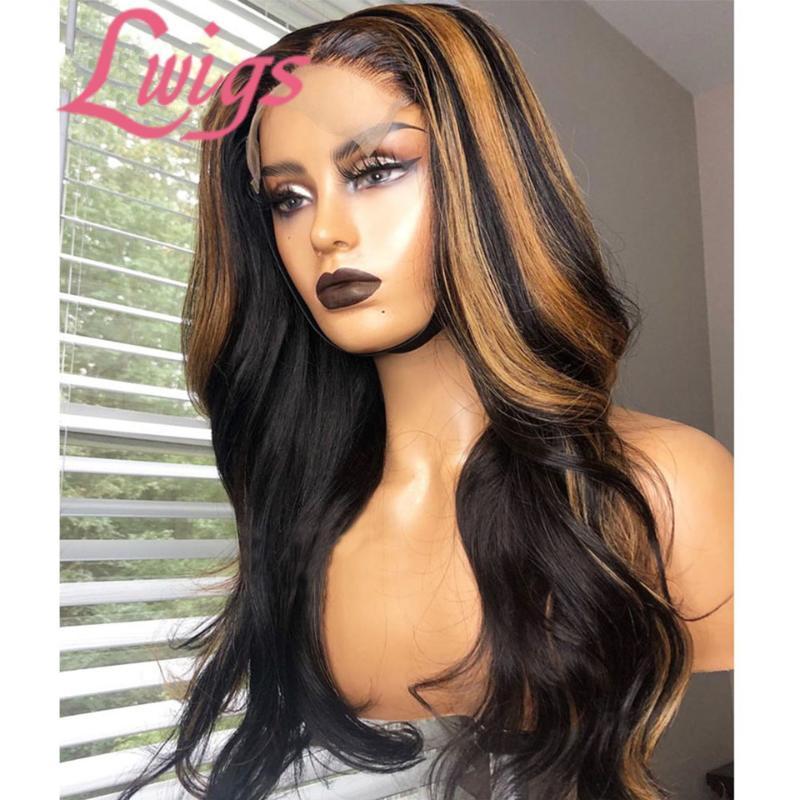Ombre colorée Highlight avant de dentelle de cheveux humains perruques vague de corps Ombre naturelle Vague 360 Dentelle Frontal Perruques Highlight avant
