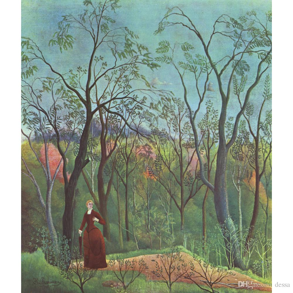 Henri Rousseau paintings The Walk in the Forest hand painted oil canvas wall art animal image for bathroom decor