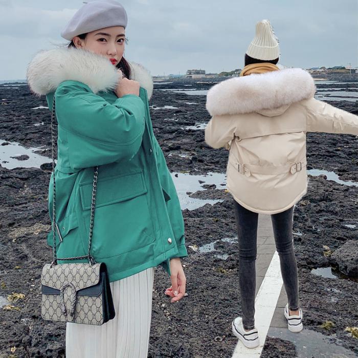 Otoño e Invierno 2019 Nueva flojo de tamaño grande brevemente abajo de vestidos de las mujeres Mostrar delgado, pequeño, más gruesa capa de las mujeres de algodón acolchado