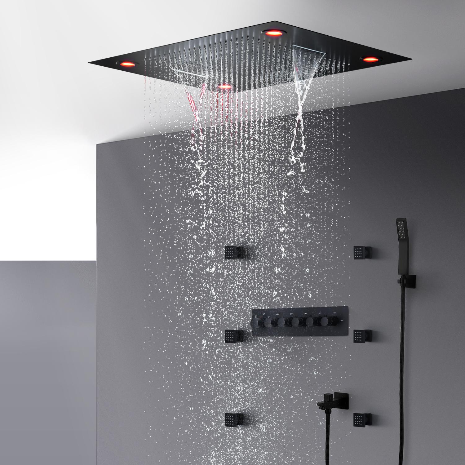 2020 Bathroom Black Shower Faucet Set Thermostatic Shower Bath Mixer Valve Luxury Ceiling Led Large Rain Waterfall Shower Head System 600 800mm From Jmhm 1 500 63 Dhgate Com