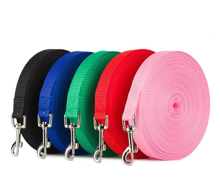 Imitação de nylon trelas para a corda Big Dogs Longo grandes animais Formação Solid Color Outdoor Pet Shop 4 Tamanho SN4189