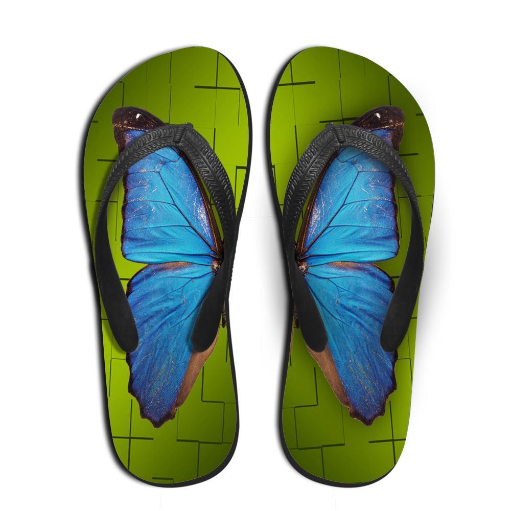 Customized Mulheres Verão de borracha flip flops borboleta 3D Impresso Praia Chinelos de Moda Feminina Feminino antiderrapantes Sandálias Flat