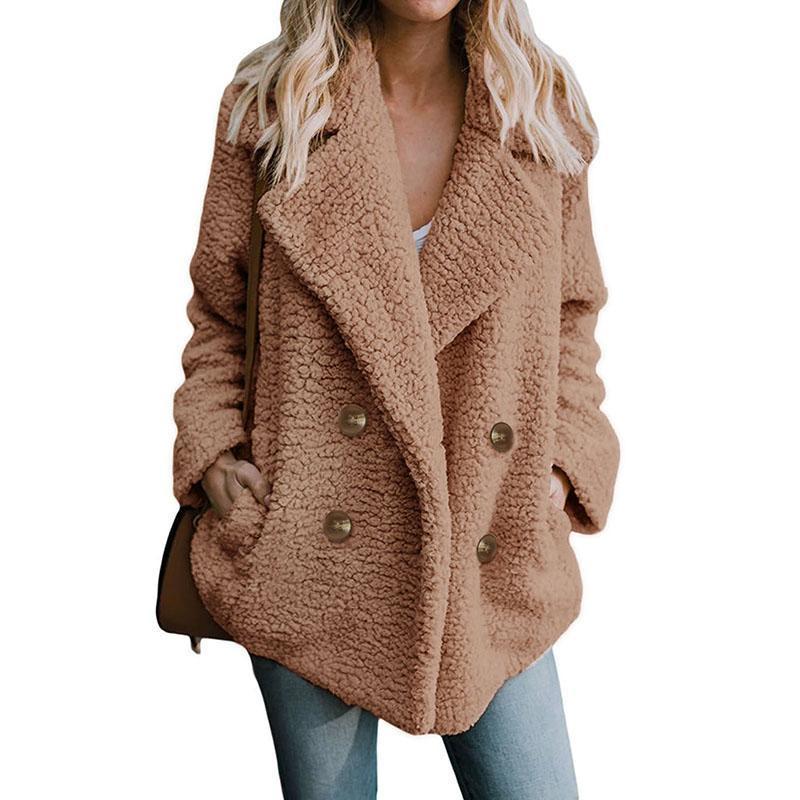 2018 горячий ягненок искусственный мех зимнее пальто женщины с длинным рукавом V образным вырезом двубортный отложной воротник элегантное теплое пальто верхняя одежда 6Q2326