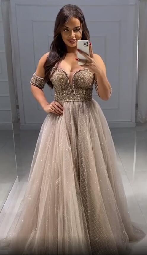 Aso Ebi 2020 Árabe Sparkly Sexy baratos Vestidos querido Vestidos Beaded Prom elegante formal do partido Segundo Recepção Vestidos ZJ315