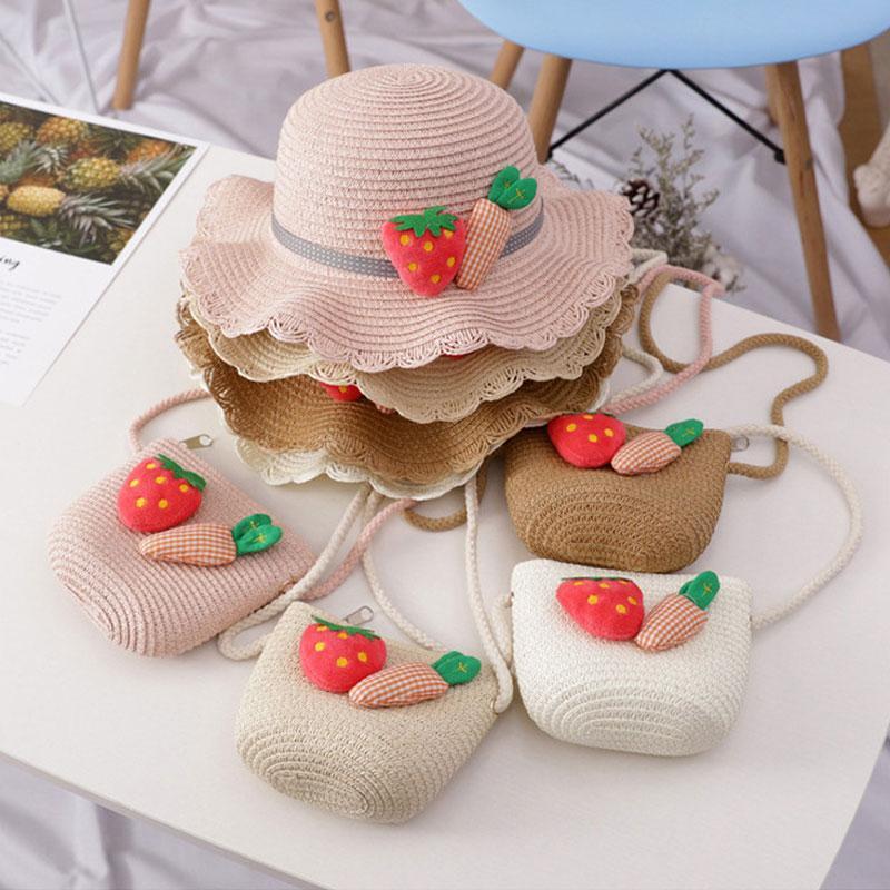Sombrero del verano de los niños de las niñas de dibujos animados de paja del sombrero del cubo con la bolsa de viaje del bebé del casquillo de la playa al aire libre del casquillo de los niños de Protección Solar