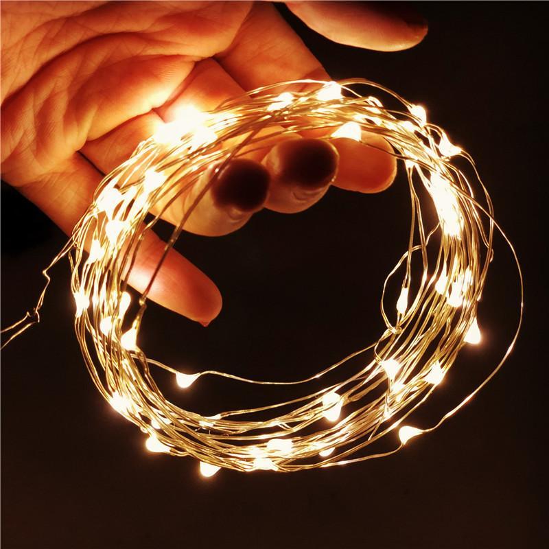 1/2/5 / 10m Fios De Cobre Fio de fio leve de Natal Luzes de fadas para a decoração do casamento Árvore de Natal