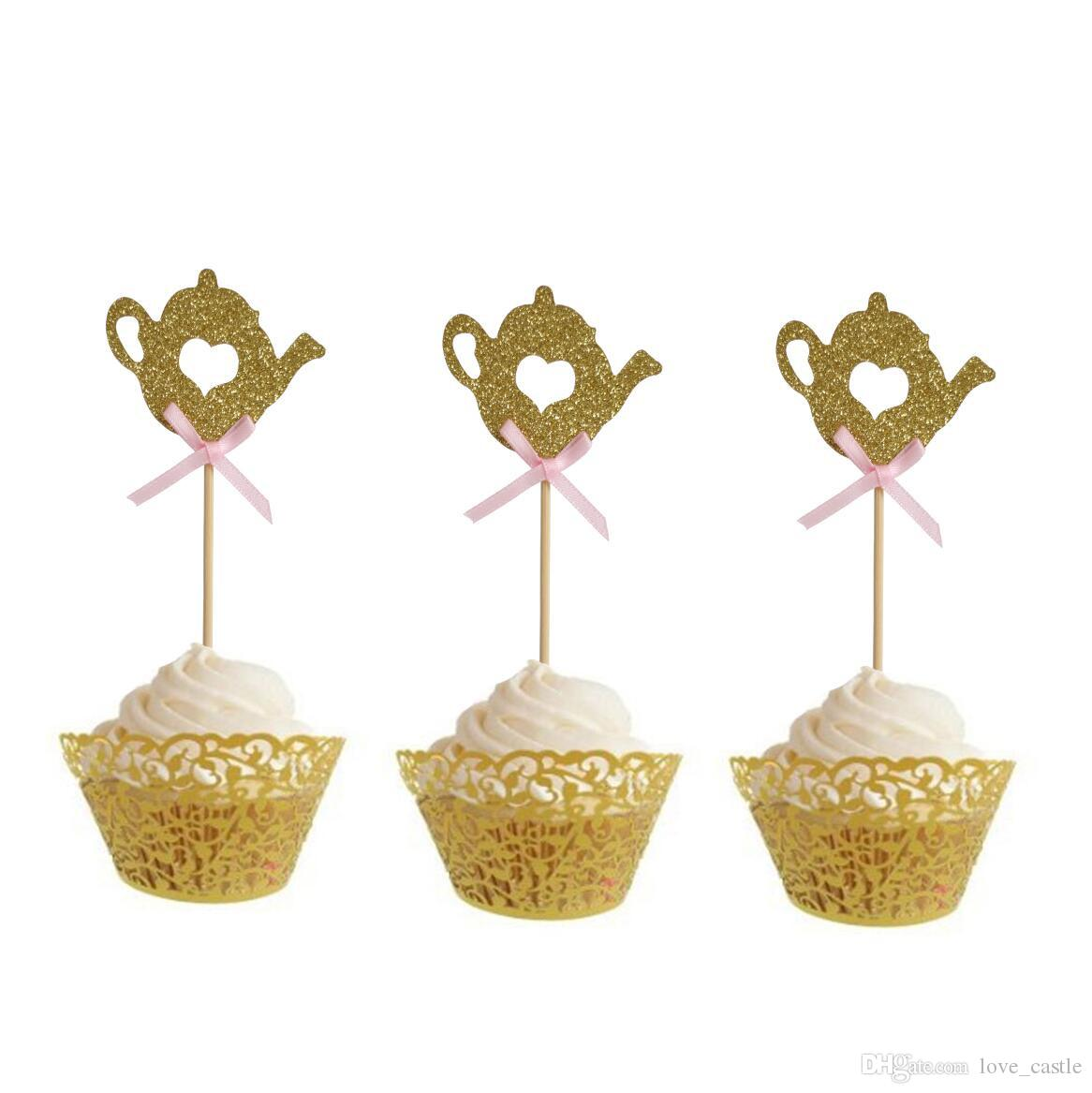 50pcs Golden Teapot Cake Toppers Baby Shower Cupcake Topper Cake Decorations Party Decorations Supplies