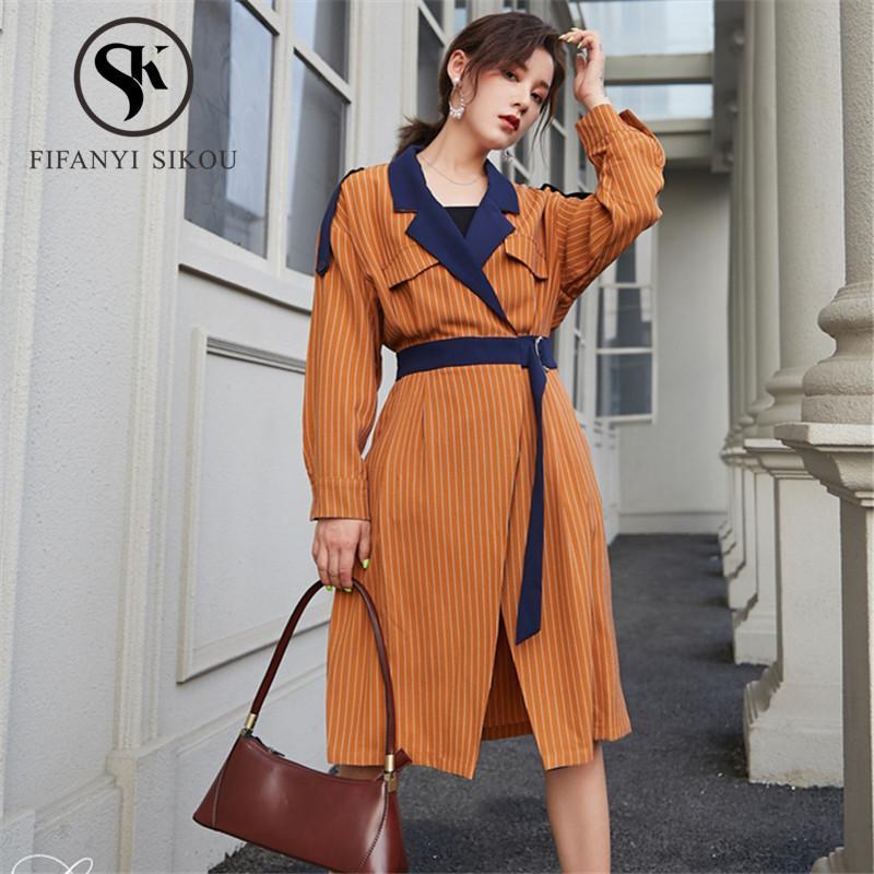 Весна женская мода полосатый тренчкот 2020 новый лацкан зашнуровать высокое качество длинный тренчкот женский свободный повседневный тонкий верхняя одежда