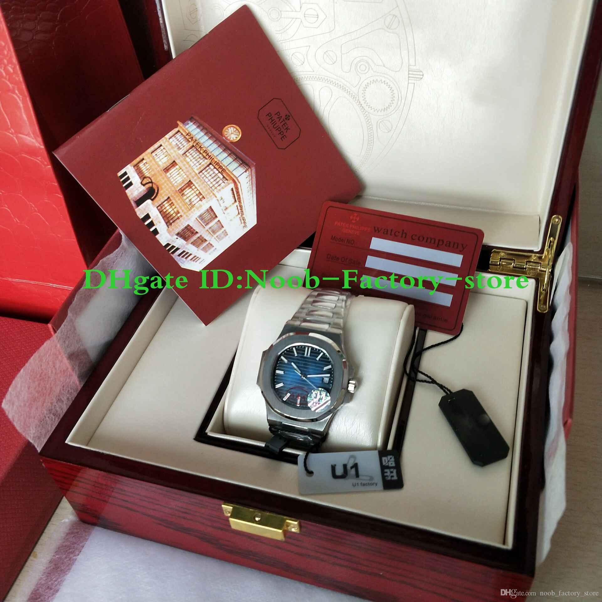U1 공장 망 자동 운동 40 mm 시계 블루 다이얼 새로운 클래식 5711 / 1A 시계 투명 백 손목 시계 원래 상자