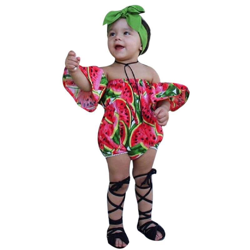 SAGACE Infant Clothing Cute Fruits Print Off Shoulder Romper Jumpsuit Baby Summer Newborn Fashion Outfits Sets With Handband