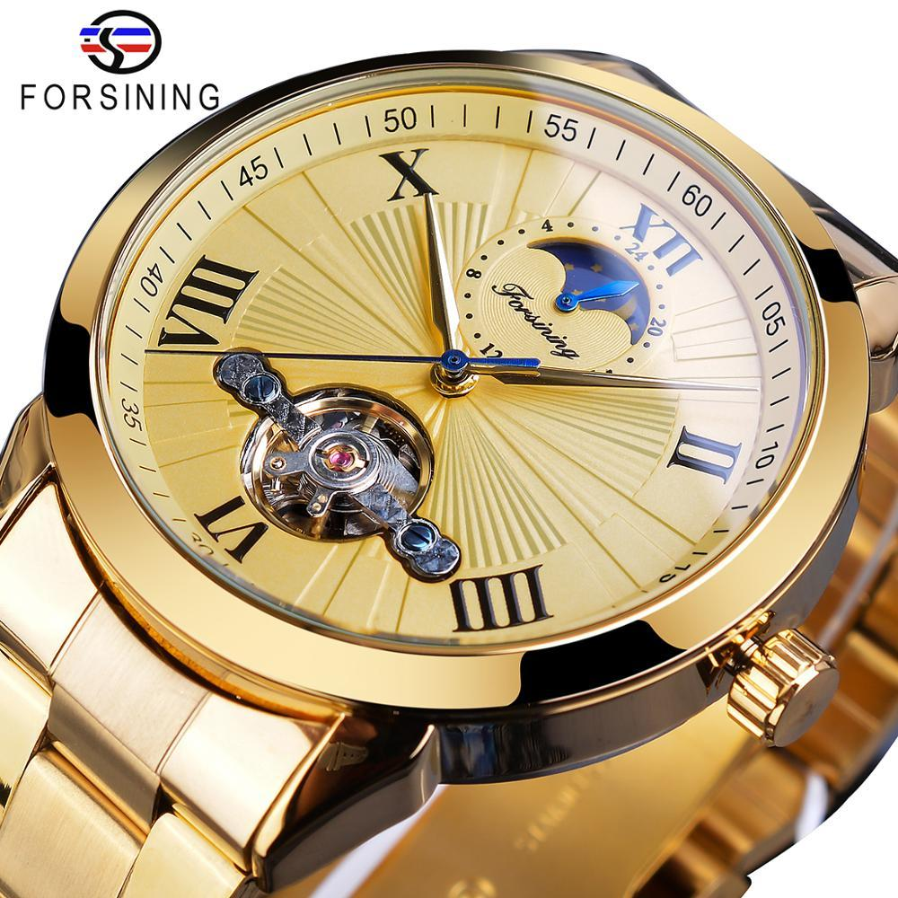 Forsining الذهبي الرجال ساعة اليد الميكانيكية 3D الطلب التلقائي توربيون Moonphase الصلب كاملة الساعات الكبيرة على مدار الساعة Relogio ذكر لل