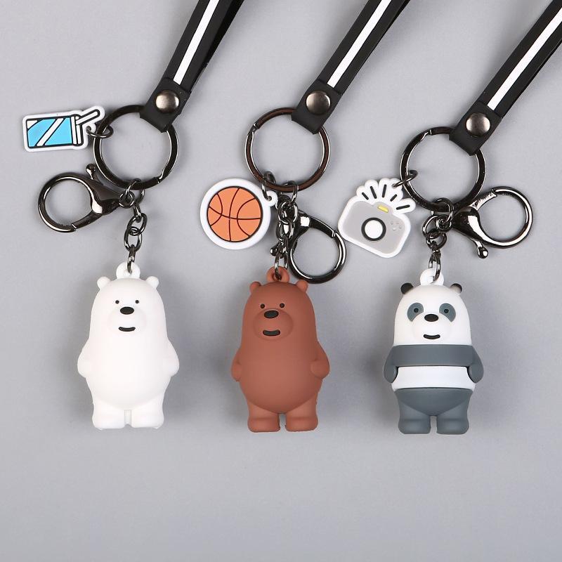Yeni Çizgi Anime Kafadar Ayılar Sevimli Üç Hayvan Ayı Doll Anahtarlık Kadınlar Araba Çanta kolye Kemer Trinkets Anahtarlıklar Porte Clef