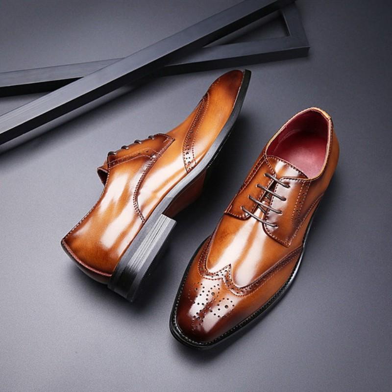첫 번째 레이어 cohide, 새겨진 비즈니스 가죽 신발, 남성 가죽 브록 정장 구두, 디자이너 드레스 신발 웨딩 신발 W62 지적