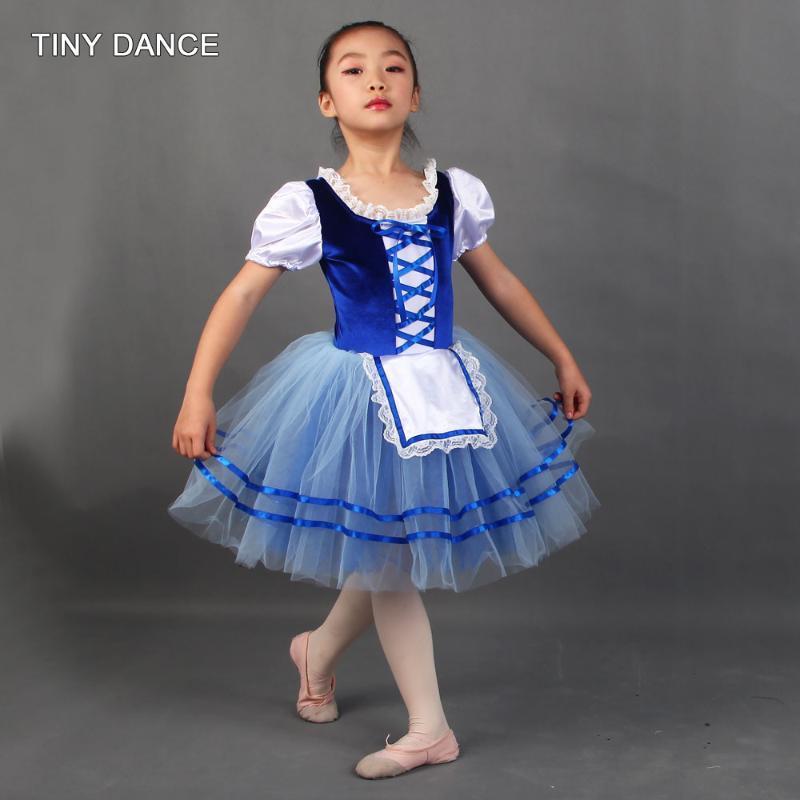 Royal Blue Romantic Comprimento Ballet dança Tutu manga curta de veludo stretch corpete com azul Platter Tutu Léotard Vestido 20180
