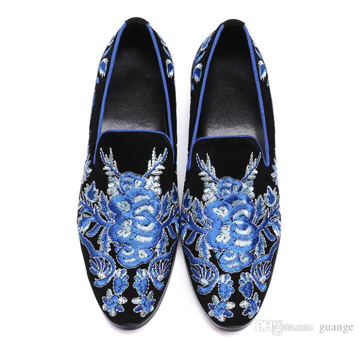 2019 hombres de moda de cuero de gamuza bordado mocasines para hombre impresos casuales mocasines zapatos hombre fiesta conducción pisos pisos tamaños 38-46