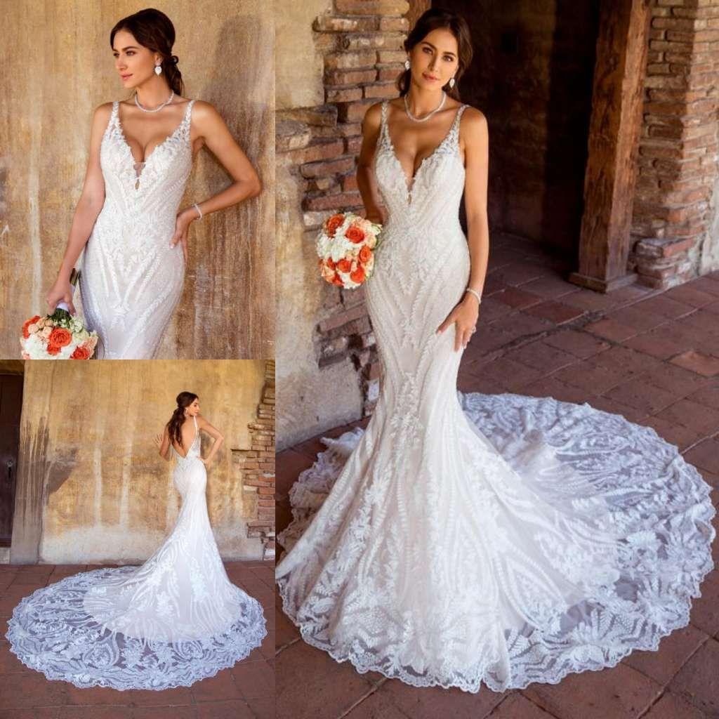 Großhandel Kitty Chen Spitze Meerjungfrau Brautkleider V Ausschnitt Sexy  Backless Sweep Zug Country Hochzeitskleid Nach Maß Plus Size Boho