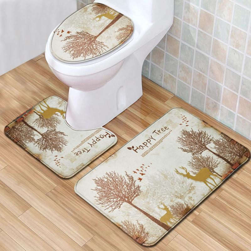Tree Deer 3pcs Toilet Mat Set Forest Anti Slip Bath Mat 3D Bathroom Rugs and Set Newest Water Absorption for Home Decor