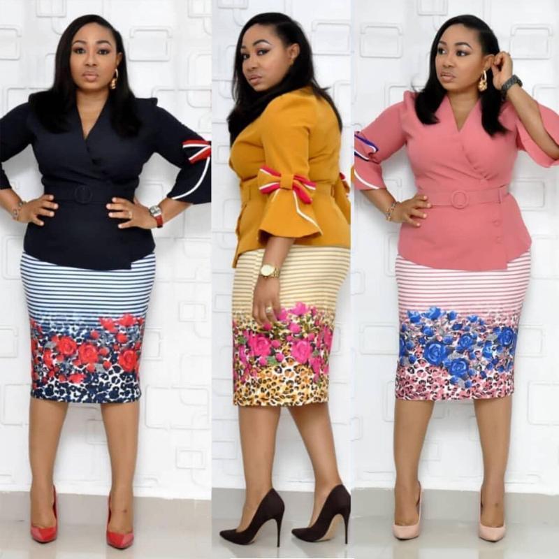 3colors 2019 Nouvelle mode africaine Imprimer élastique Bazin Baggy surjupe Rock Style Dashiki (+ tops jupes) 2pcs / set pour dames / femmes