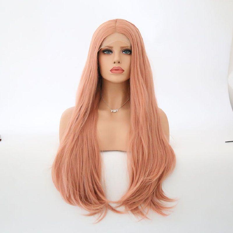 Бесплатная Доставка Средняя Часть Розовый Цвет Синтетические Длинные Натуральные Волнистые Волосы Фронта Шнурка Парики Glueless Для Женщин Натуральная Волос 180% Плотность