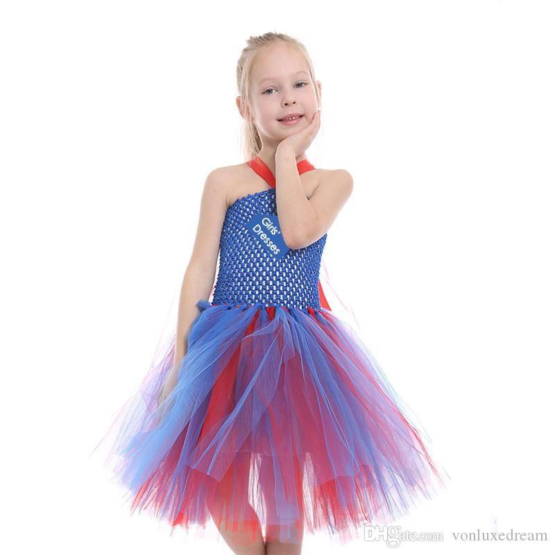 Vintage Red Blue Pageant Dresses Flower Girl Dress Sleeveless Ball Gown Kid First Communion Dress Halloween Christmas Dress