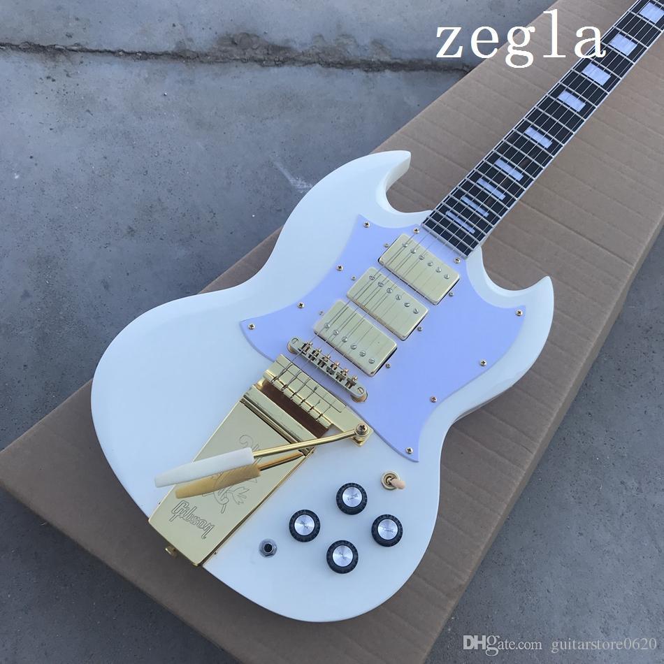 Custom Shop 1968 SG пользовательские Polaris Белый двойной вырез электрогитара длинная версия Маэстро Виброла золото Тремоло Birdge 3 пикапы