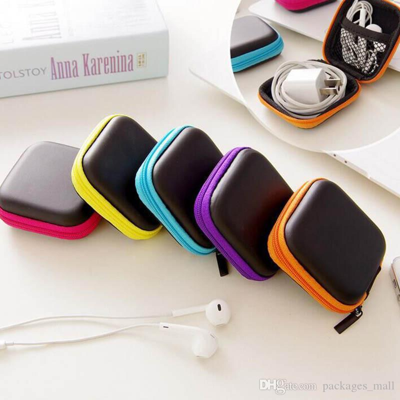 Colorful auricolare bagagli Carrying Case Cover EVA Bag Rettangolo Zipper Earpphone auricolari Per Cavo USB Key moneta DHL libero