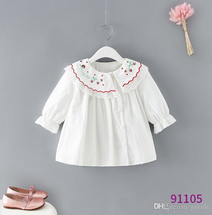 Camicia bambina 2019 nuovi bambini falbala colletto camicia a maniche lunghe per bambini camicetta in cotone principessa ricamato in ciliegio