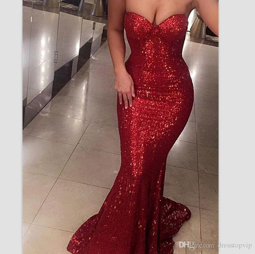 Christmas Evening Dresses Uk.Sparkly Bling Mermaid Prom Dresses 2019 Red Sequins Formal Evening Gowns Strapless Sleeveless Girls Christmas Party Gowns Size 0 Prom Dresses Uk Prom